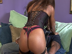 Sexy black MILF in lingerie sucking black cock and fucking on the couch