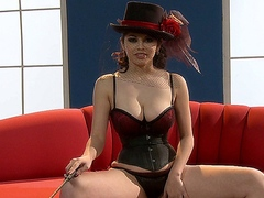 Sexy brunette babe Evie Delatosso masturbates in a sensual corset