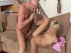 Blonde slut Emma Ray sucks cock and gets her tight pussy plowed