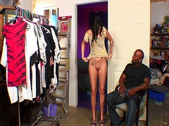 Brunette slut getting fucked hard by her black step dad