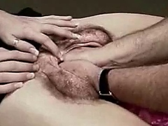 Dude shoves his whole head inside her gaping pussy!