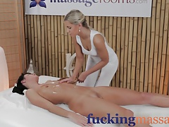 Massage Rooms Elegant model gets long legs oiled