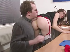 Slutty MILF with glasses anal in the office
