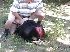 Young redhead girl sucking and fucking outdoor