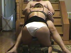 White satin panty blow job