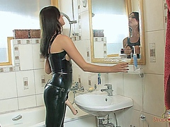 Strapon cum - Bathroom Latex Jerk