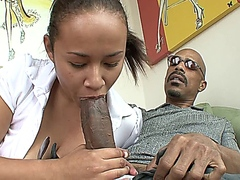 Asian school girl tasted black chocolate HD