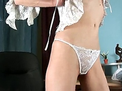 Curly blonde Housewife anal fucked after her horny masturbation