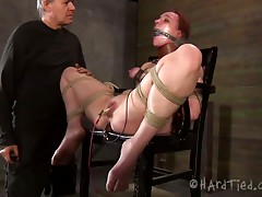 Ruined red-haired whore gets her hootchie teased with vibrator