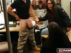 Blonde little slut fucked in pawn shops office to sell her car