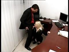 Blonde beauty keeping her job