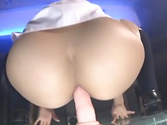 asian schoolgirl dance and anally ride dildo
