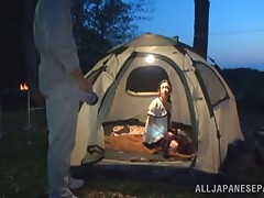 During a camping trip Yuri Shirai gives a guy head in her tent