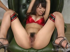 Ravishing babe in bondage gets her cooter toyed and fingered rough