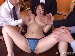 Busty Japanese secretary gangbang with facials and creampies