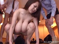 Busty Japanese secretary gangbang with facials and creampies