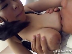 Superb babe gets her big boobs caressed while being throbbed severely