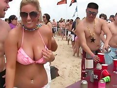 Delightful drunk amateur girls with big tits in bikini getting wild in a party at the beach