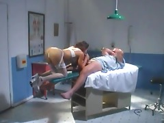 Sexy stud in hospital bed fucking a cock sucking brunette hooker