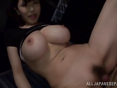Pleasure in POV from a gigantic boobs Asian sweetheart