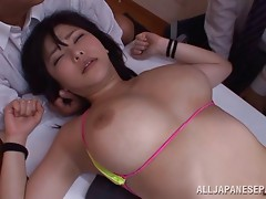 Bikini babe on the dinner table fondled by Japanese guys