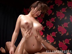 Oily Japanese bitch with a hairy cunt gets penetrated