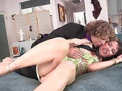 Michael Vegas delivers a rough deepthroat to her wife and later drills her doggystyle