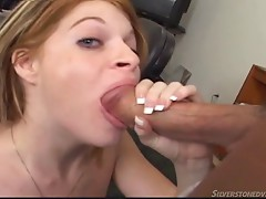 Scarlett enjoys giving a steamy blowjob then yells when holes are swapped