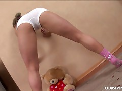Teen blonde dildoing her marvelous pink taco on the balcony