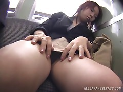 Desirous Japanese cutie moans while getting her hairy twat drilled with a toy