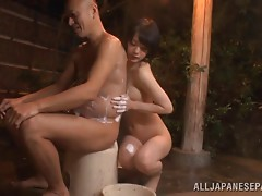 Asian cock sucker gets her hairy twat filled with a raging boner