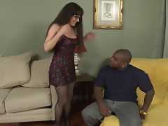 Seductive MILF brunette with long hair getting caressed before being hammered hardcore in interracial sex