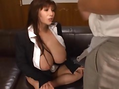 Jizzing on her huge tits after plowing her hairy cunt