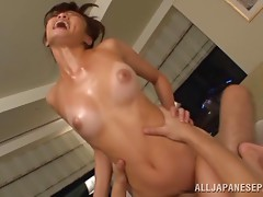 Oiling up a hot Japanese babe and ramming her cunt