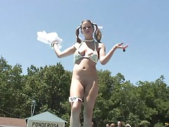 Bikini clad amateur cowgirl with nice tits gets naked in public