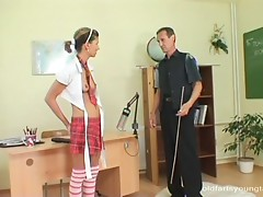 Skinny teen in school uniform fucked by old male teacher then jizzed