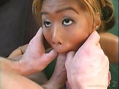 Pretty Asian chick with big tits enjoying a hardcore doggy style fuck