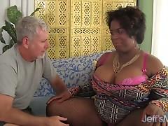 Black horny BBW Marlise Morgan enjoying a fat