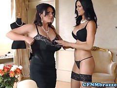Glam CFNM threeway with busty british femdoms