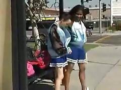 Cheerleader used on public bus