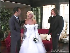 Slutty bride gets penetrated by the groom and the best man