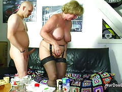 German Grandma Seduce Grandson to First Fuck in Lingerie