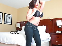Latina with huge tits sucks and rides a big pecker