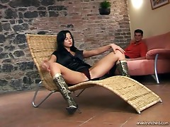 Black haired babe in boots gets ass fucked on a tiled floor