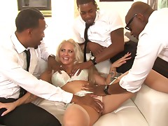 Three black guys team up and triple fuck a crazy white girl