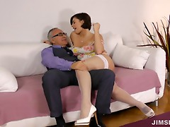He fucks her on her knees, between her tits and on her back