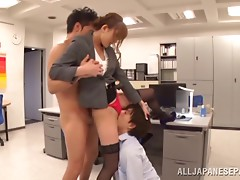 Their boss is a demanding Japanese hottie that needs cock