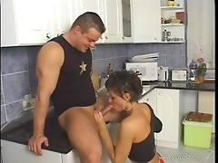 Slut gets her ass banged in the kitchen before taking cumshot