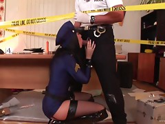 Two cops strip off their uniforms and fuck on a crime scene