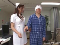 Desirous Asian nurse swallows cum after giving a her patient a blowjob